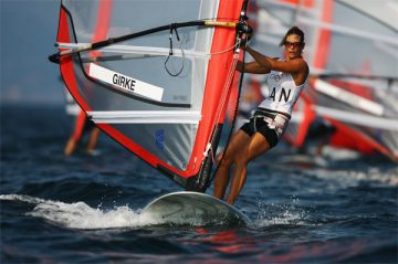 QINGDAO, CHINA - AUGUST 12:  Nikola Girke of Canada competes in the Women's RS:X class race held at the Qingdao Olympic Sailing Center during day 4 of the Beijing 2008 Olympic Games on August 12, 2008 in Qingdao, China.  (Photo by Clive Mason/Getty Images)